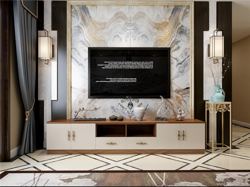 新中式一字型电视柜