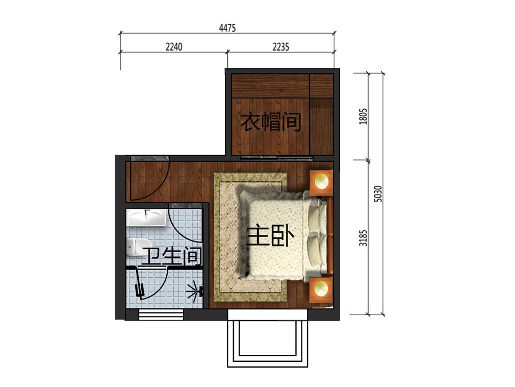 12平米主卧设计户型图