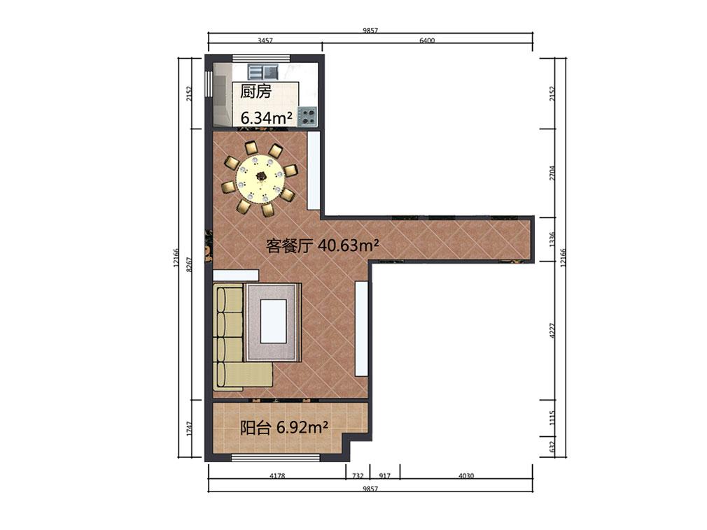 41平米客餐厅设计户型图