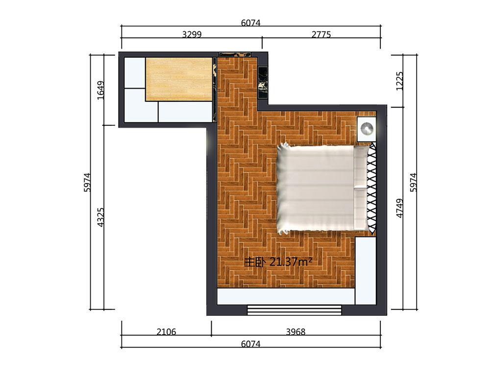 21平米主卧室户型图