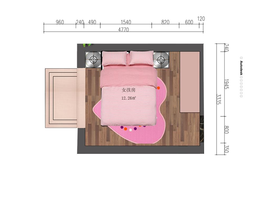 12平方女孩房户型图