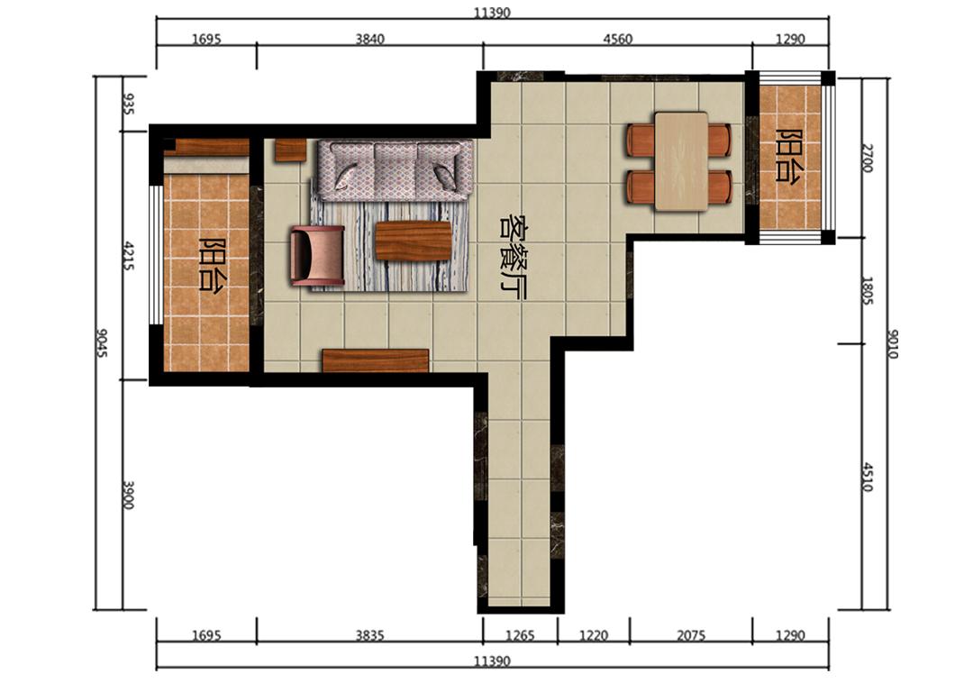 41平方客餐厅户型图