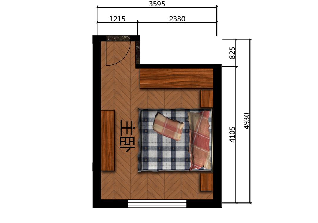 14平米主卧房平面户型图