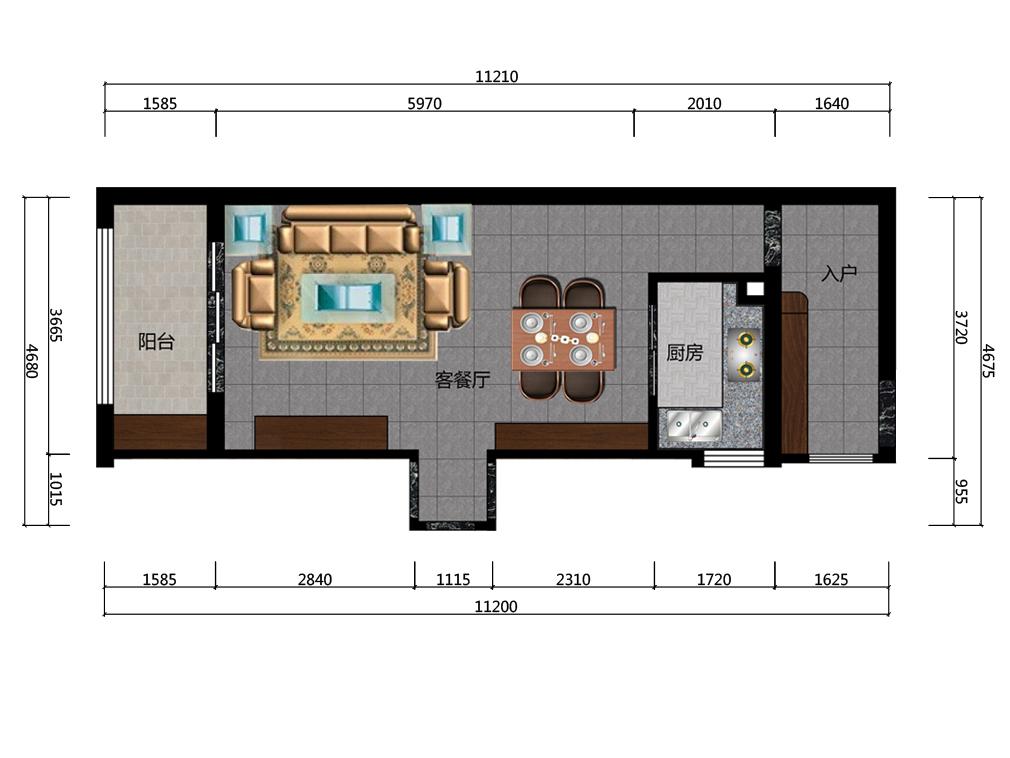 33平米客餐厅平面户型图