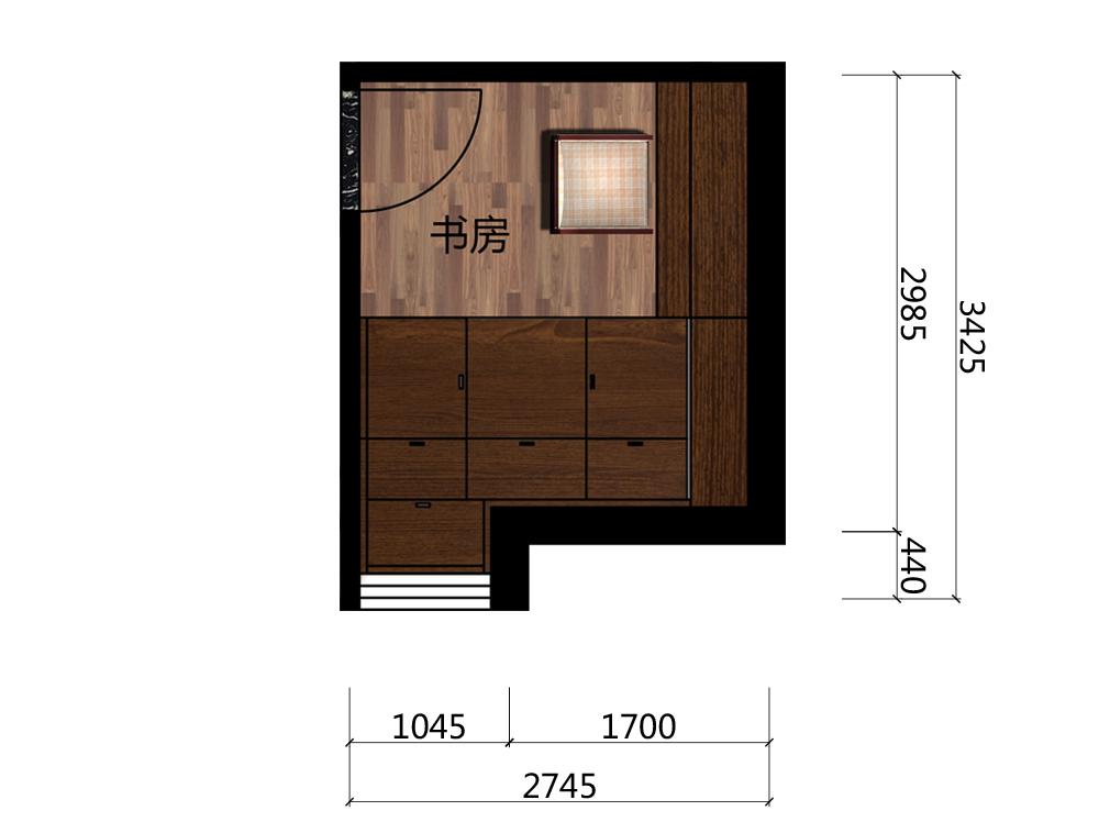 7.6平米书房平台户型图
