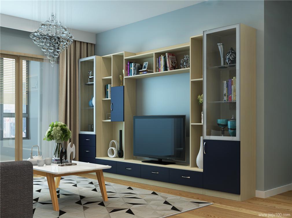 深蓝色柜门电视柜设计
