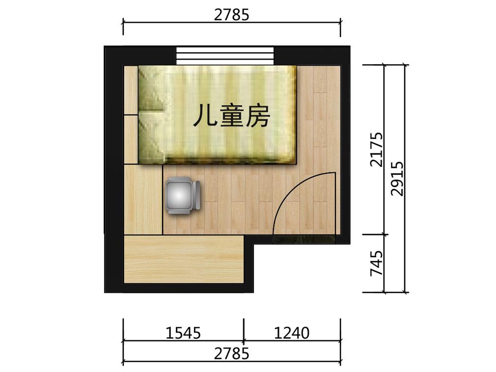 7平米青少年房平面户型图