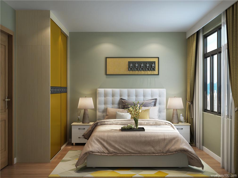 黄色调卧房家具搭配