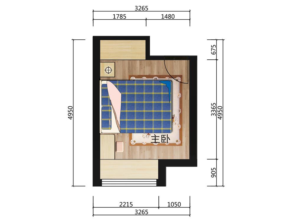 13平米主卧室平面户型图