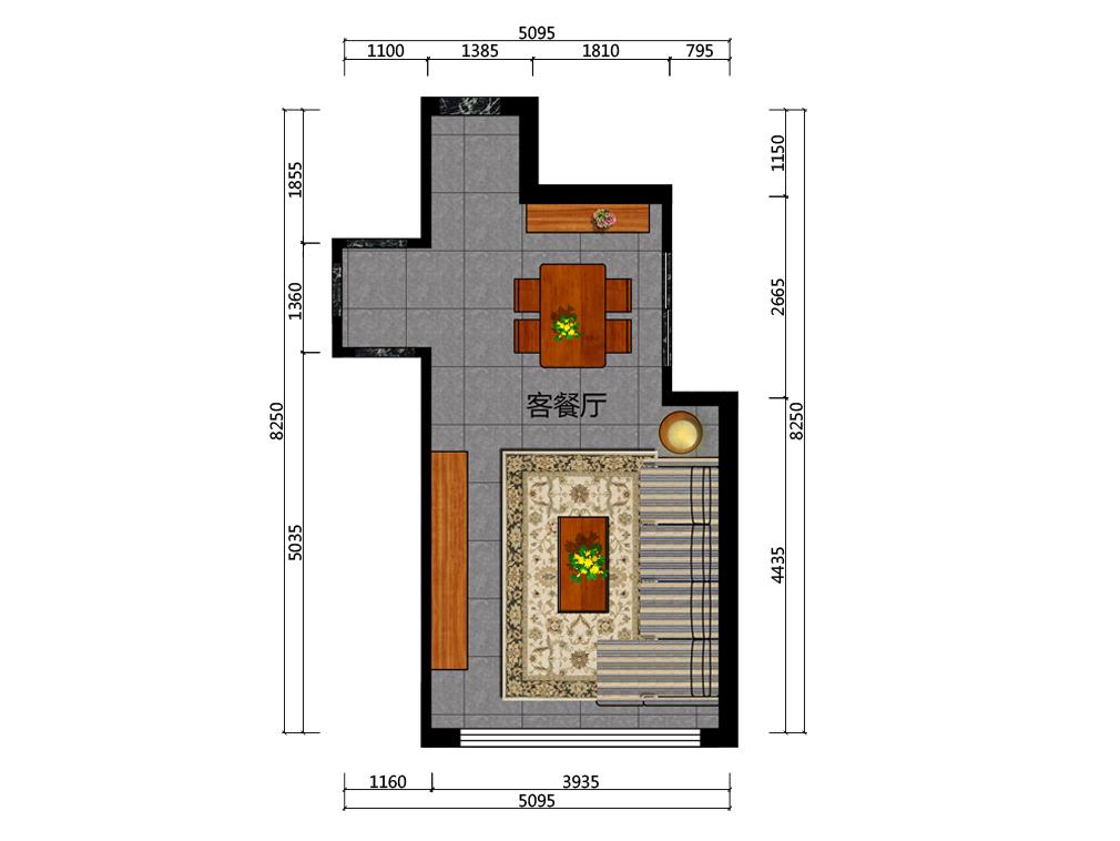 27平米客餐厅平面户型图