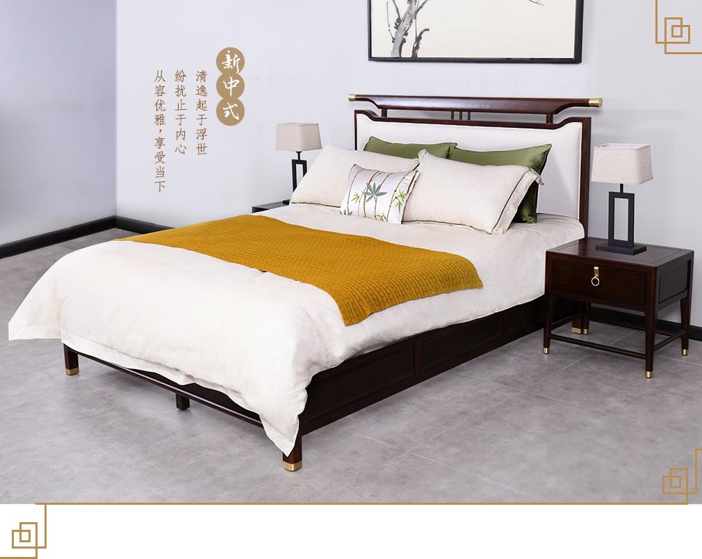 实木布艺沙发品牌_1.5米实木软包床价格_新中式全实木软包床单人床_诗尼曼官方商城