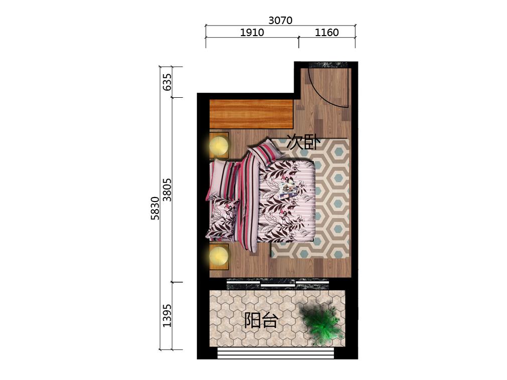 11平米青少年房平台户型图