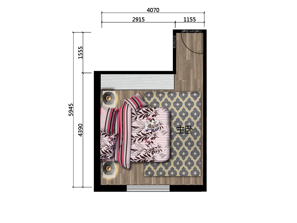 18平米主人房平面户型图