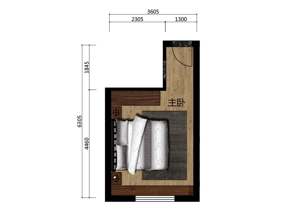 16平米主卧室内平面户型图