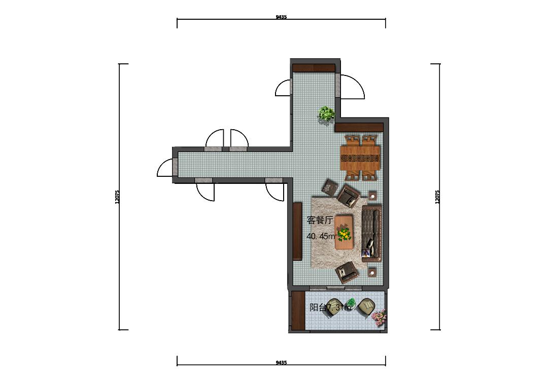 48平米客餐厅平面户型图