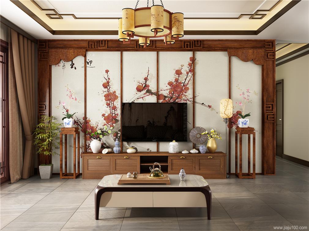 中式简约电视柜设计