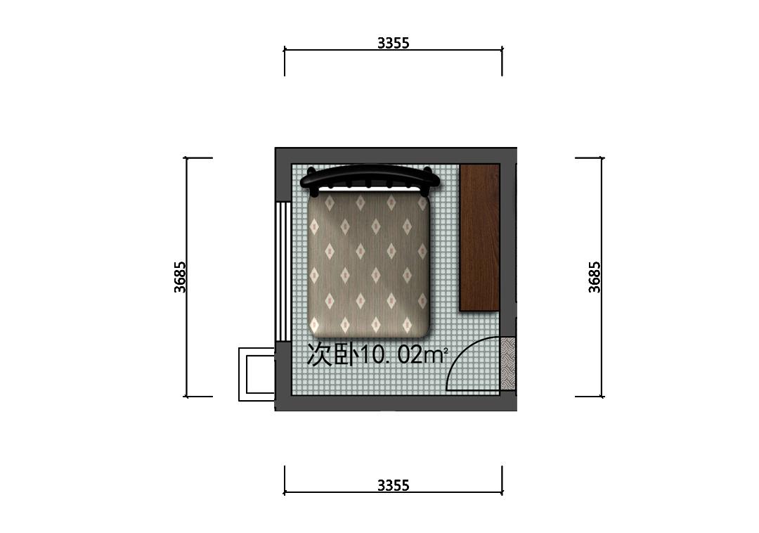 10平米卧室平面彩平图