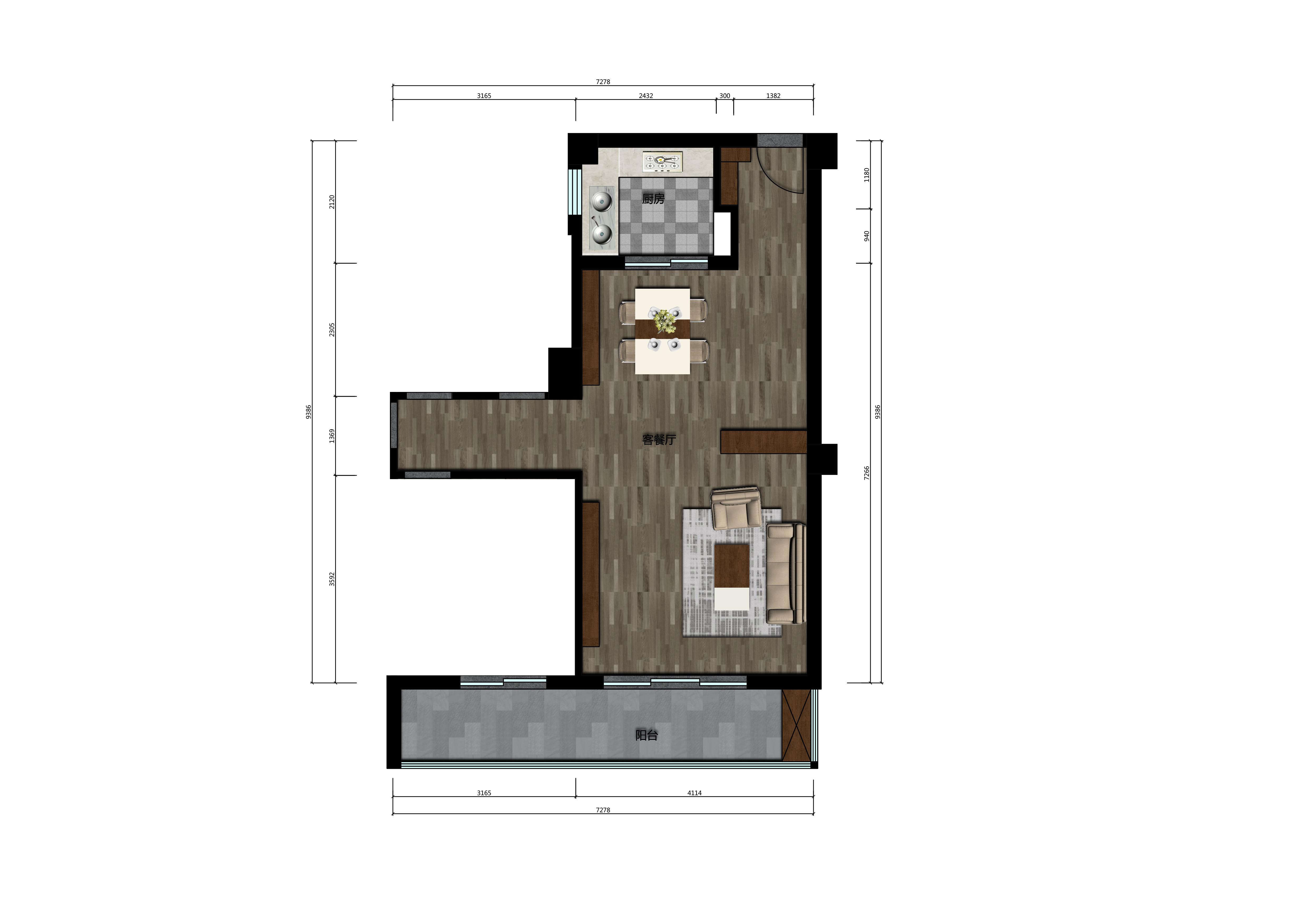 34m²客餐厅户型图