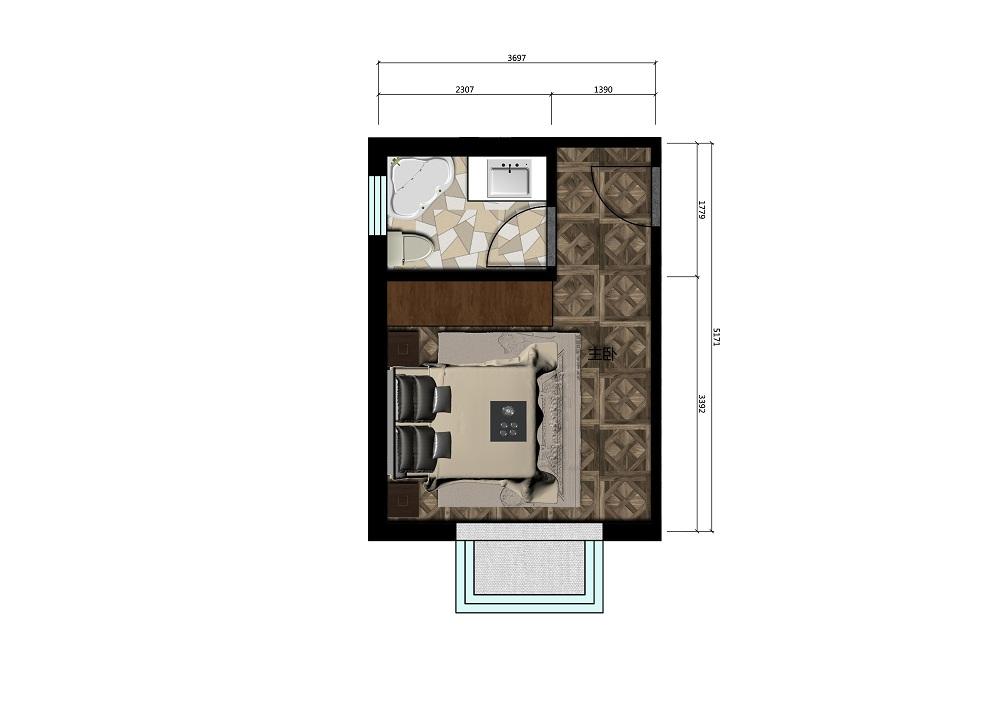 13.5平米卧室彩平图
