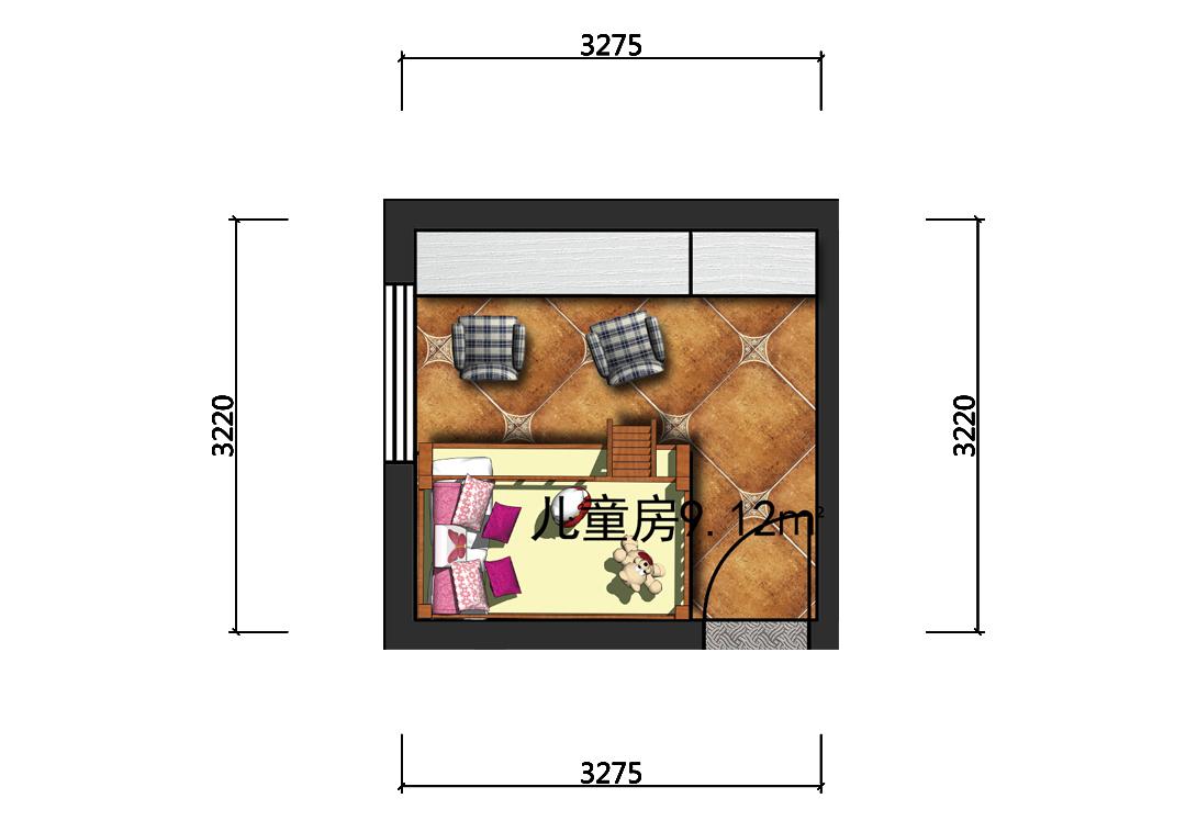 8平米儿童房彩平图