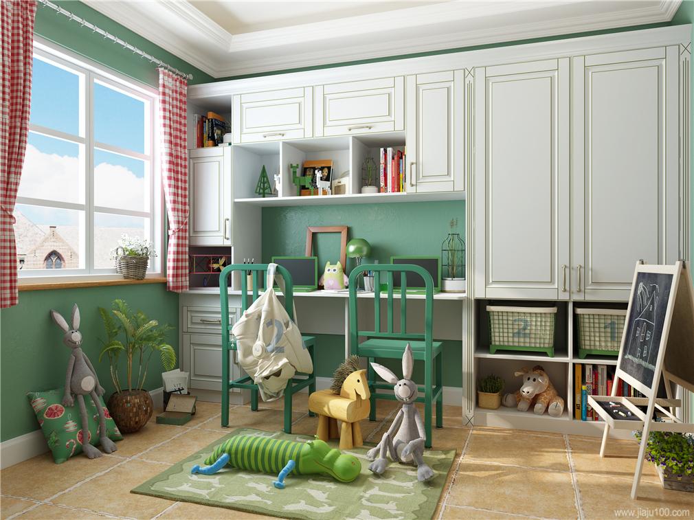 儿童房书桌柜衣柜组合