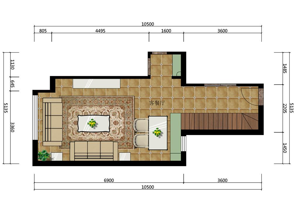 34平米复式客餐厅彩平图