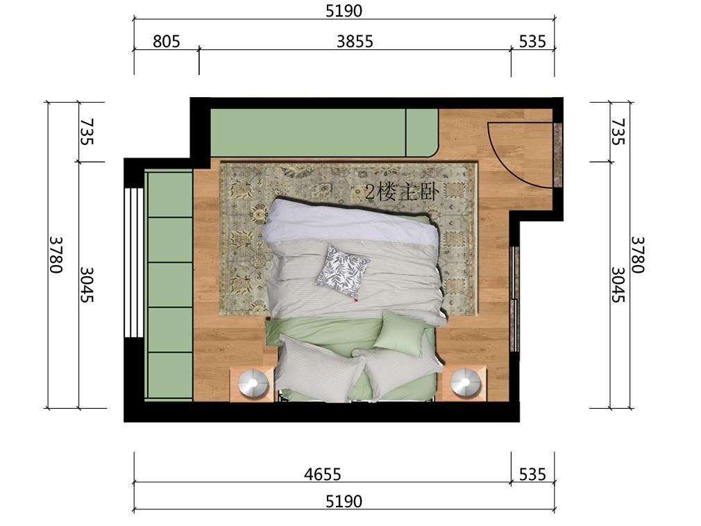 主人房室内空间彩平图