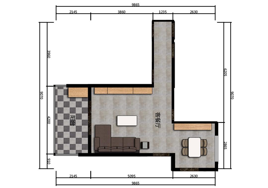 39平米客餐厅户型图