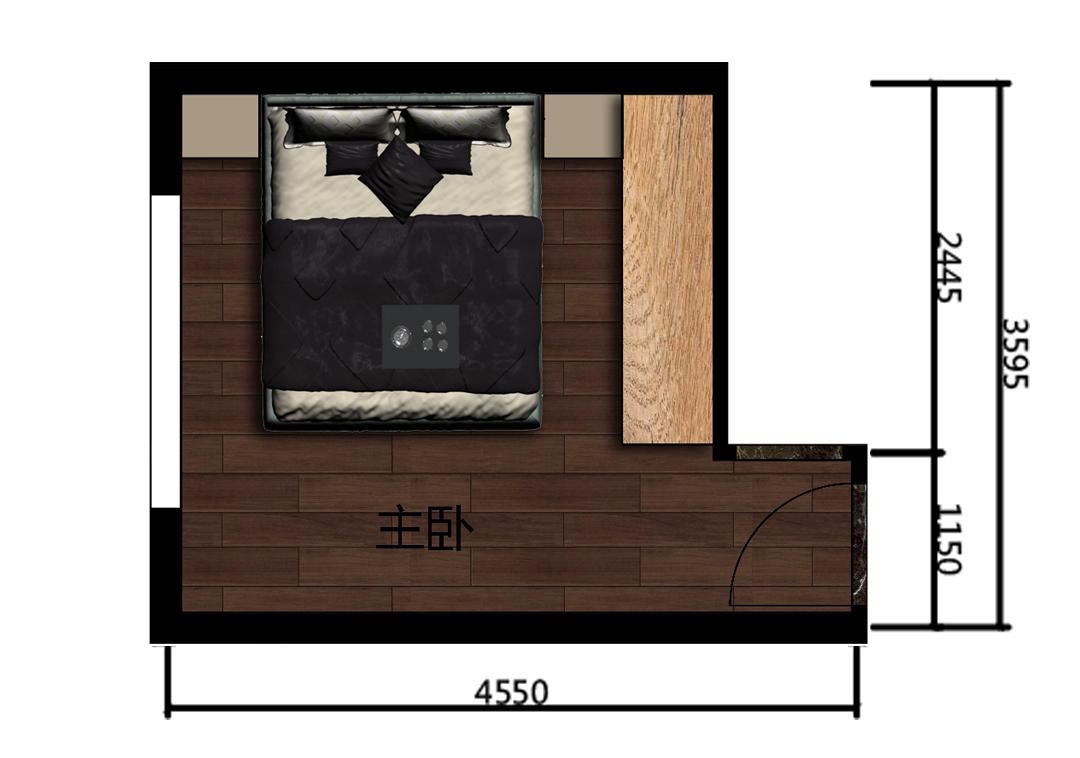 现代风格主卧房室内户型图
