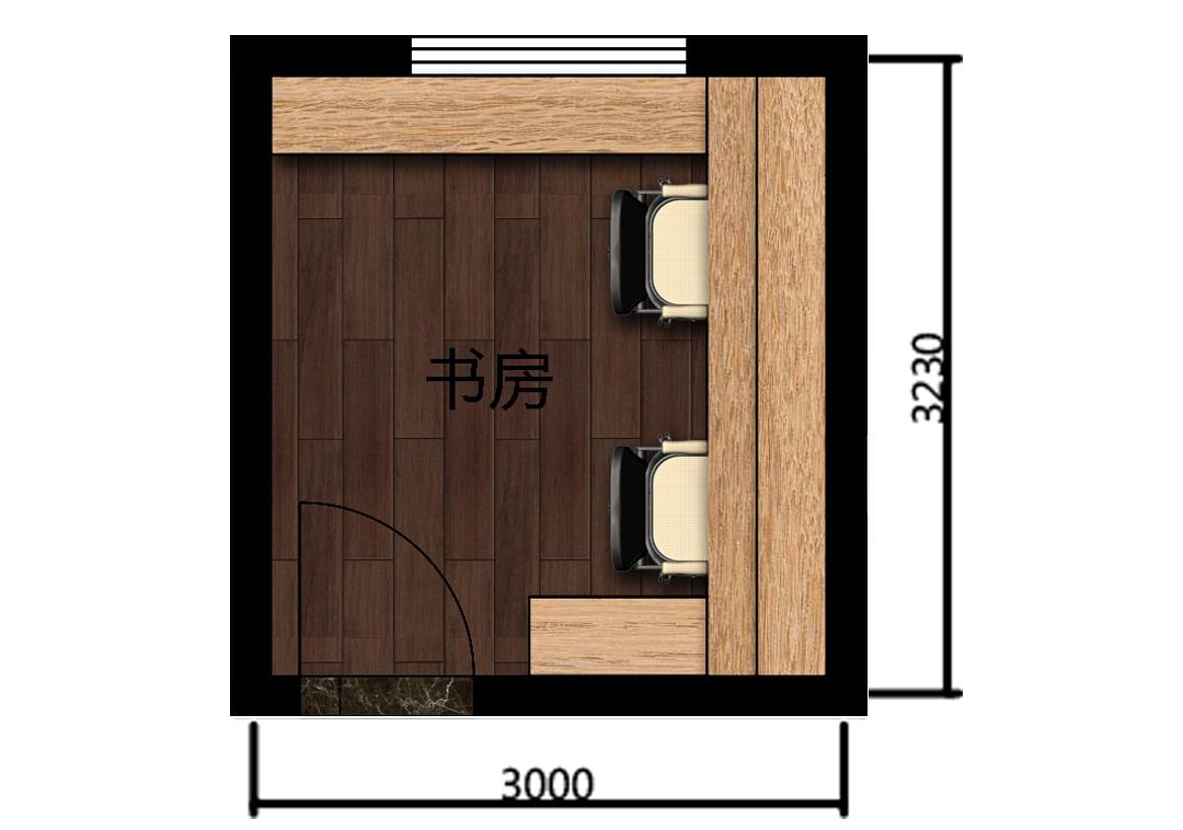 书房室内平面户型图