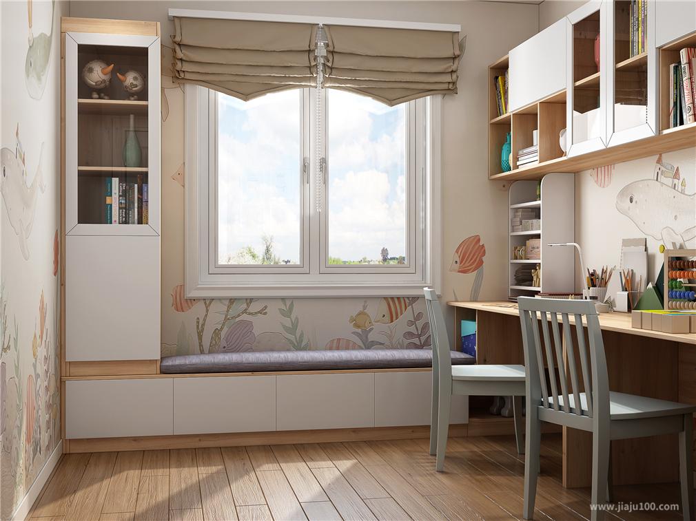 书房飘窗柜设计