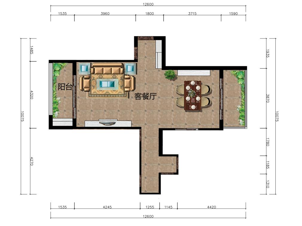 45平米客餐厅室内彩平图