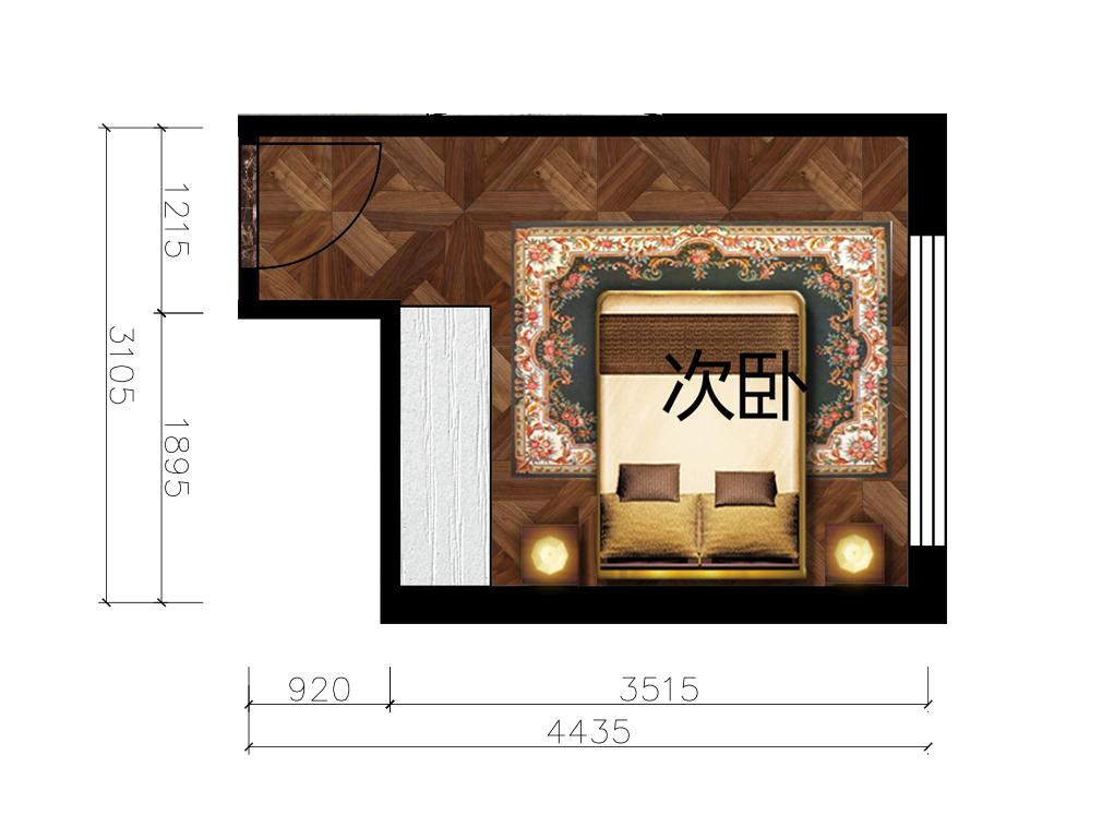 11平米次卧室内彩平图