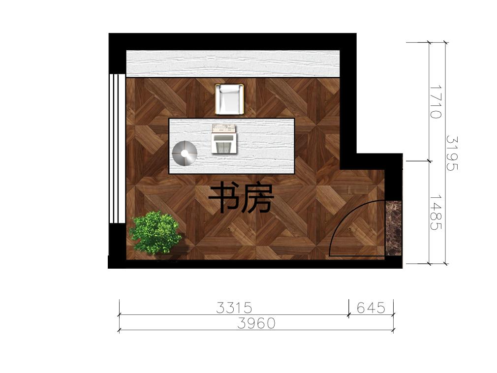 10平米书房室内户型图