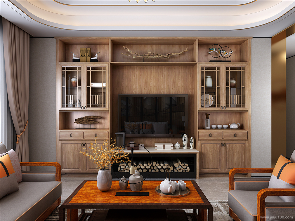 入墙式中式风格电视柜设计