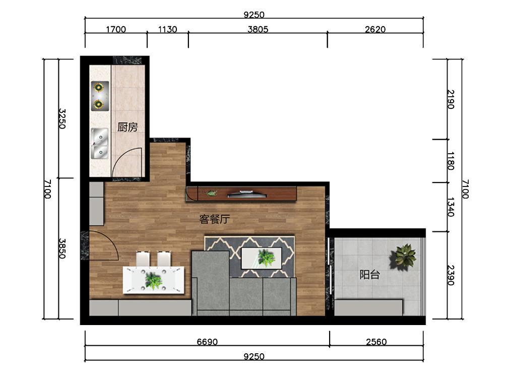 29平米客餐厅室内户型图