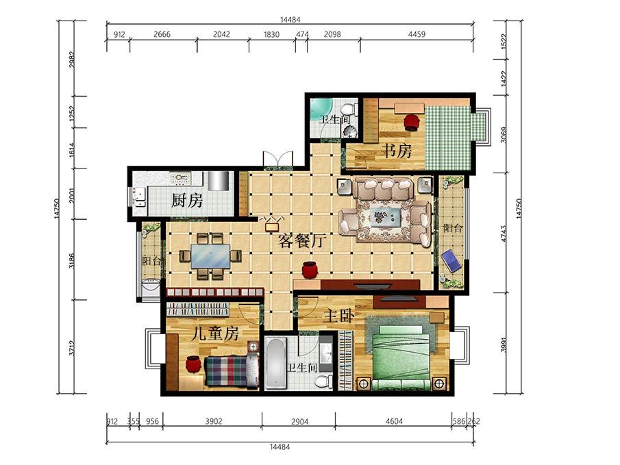 宁夏银川美林湾3房2厅现代时尚风格107㎡全屋户型图