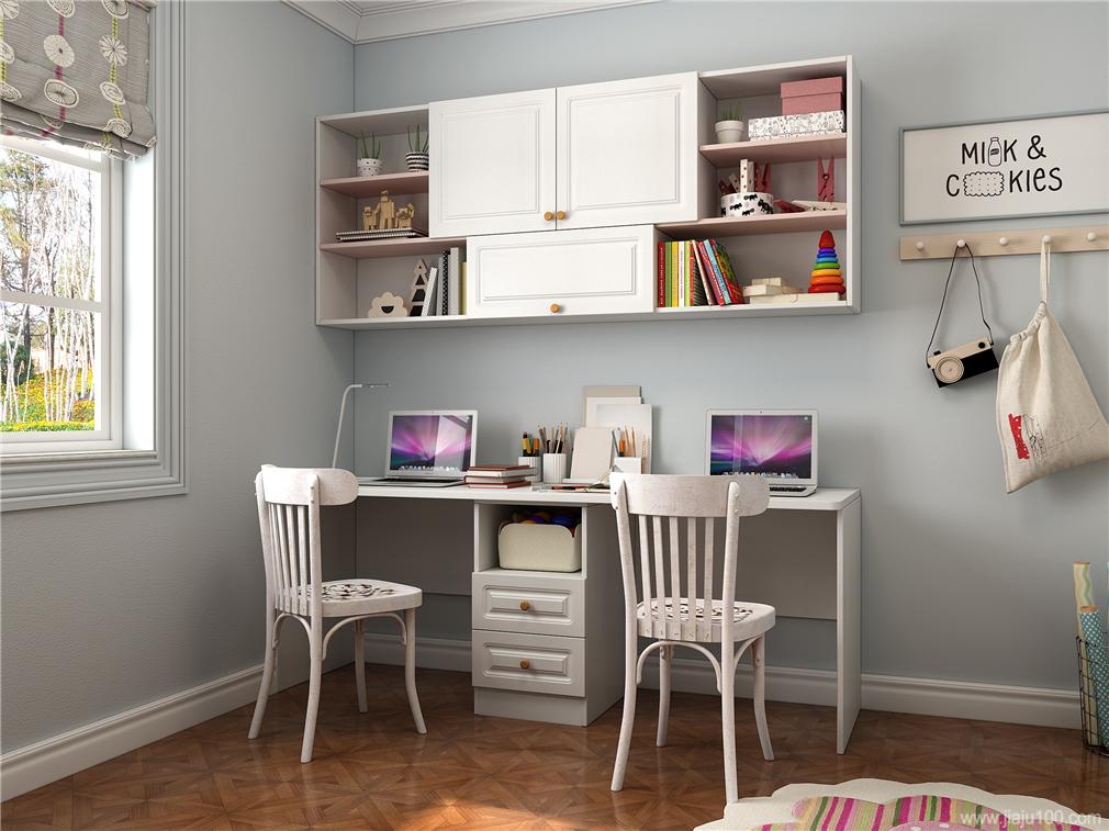 儿童房双人书桌柜