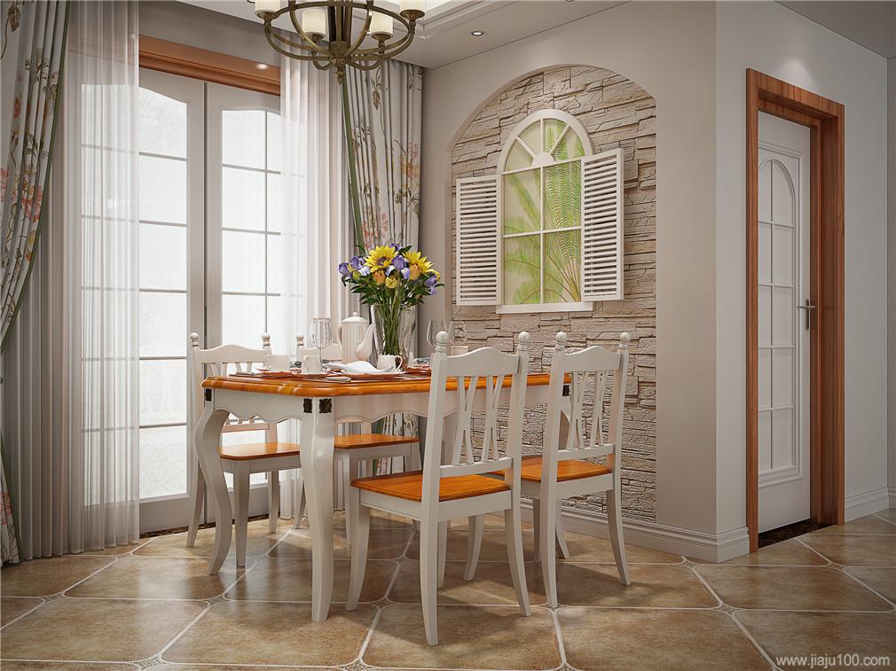 地中海风格餐桌椅摆放