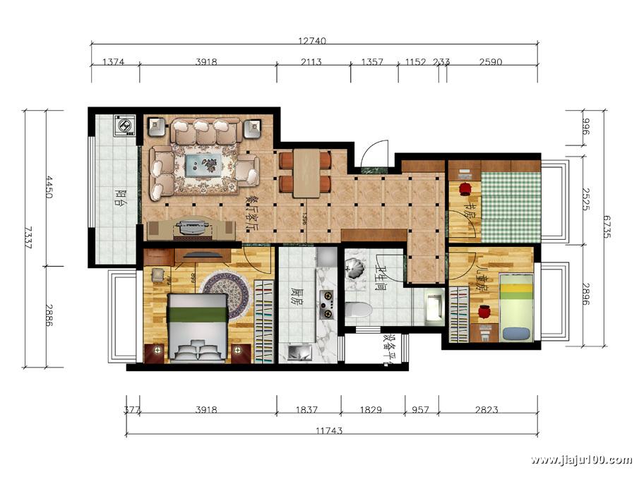 杭州余杭区万科城三房两厅全屋定制家具平面设计图