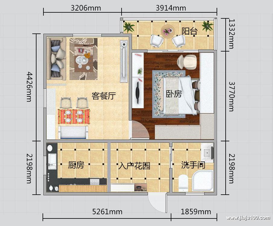 上海灵新小区一房两厅全屋定制家具户型设计图