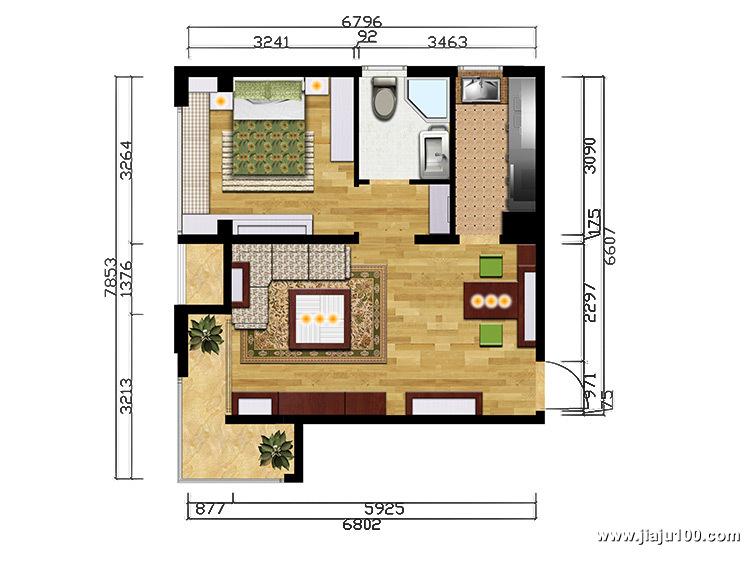 北京保利春天里一房一厅全屋定制户型设计