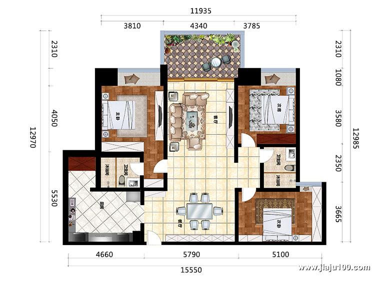 广州番禺万科三房两厅整体户型设计图